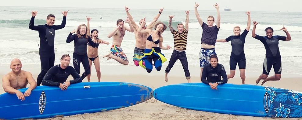 Group surf lessons in Manhattan Beach, California
